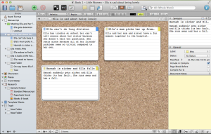 The index cards that have a yellow box in the top right corner are just ideas; the one that has a blue box in the top right corner is a completed scene. I use Scrivener's Labels feature to highlight whether each card is for an idea or a scene.